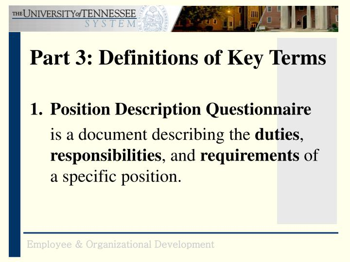 Part 3: Definitions of Key Terms
