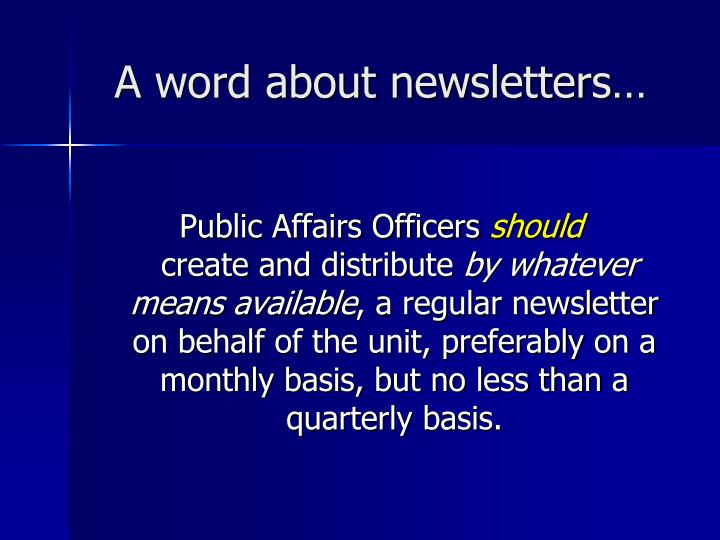 A word about newsletters…