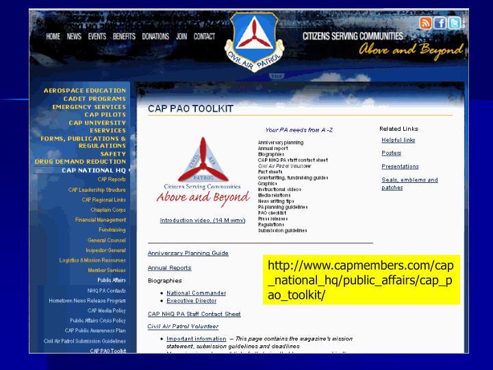 http://www.capmembers.com/cap_national_hq/public_affairs/cap_pao_toolkit/