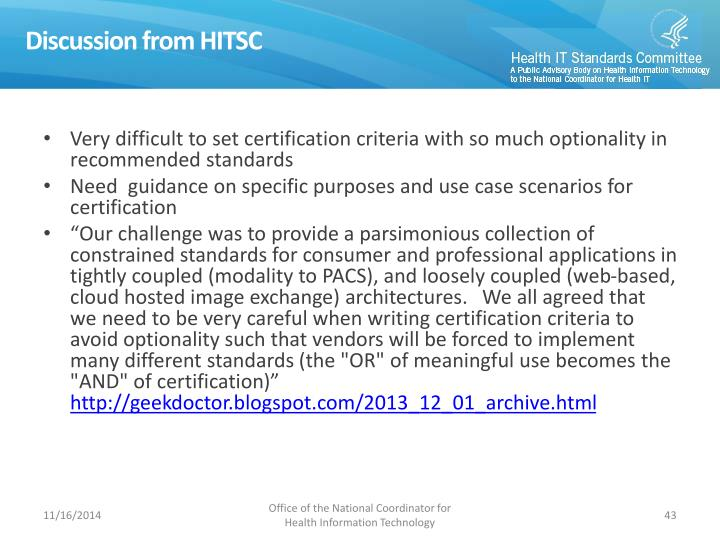 Discussion from HITSC