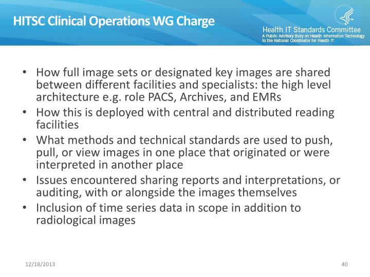 HITSC Clinical Operations WG Charge