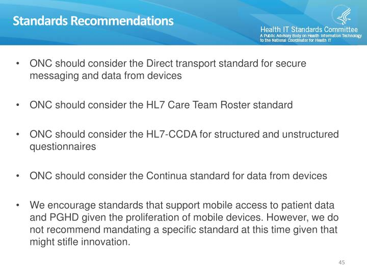 Standards Recommendations