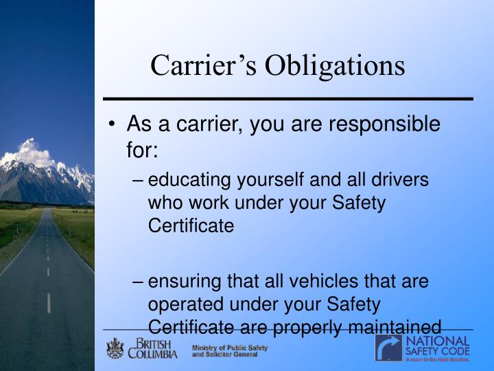 Carrier's Obligations