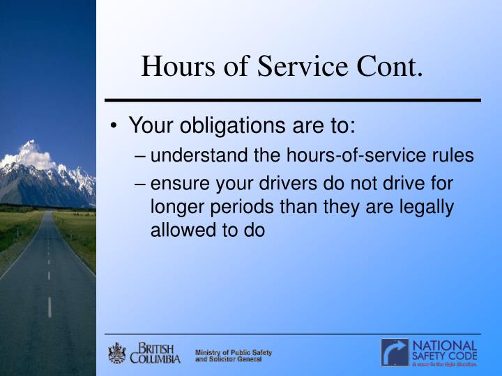 Hours of Service Cont.