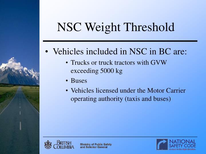 NSC Weight Threshold