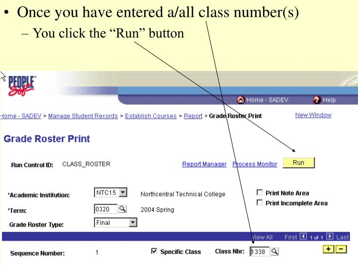 Once you have entered a/all class number(s)