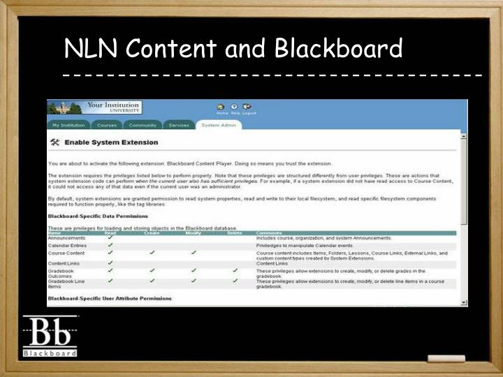 NLN Content and Blackboard