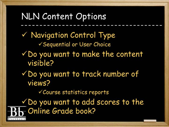 NLN Content Options