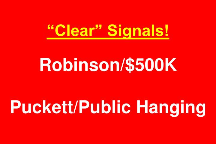 """Clear"" Signals!"