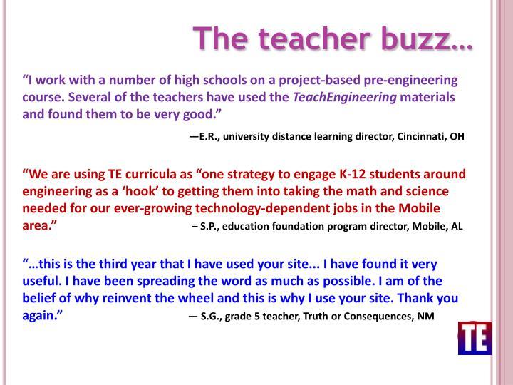 The teacher buzz…