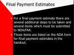 final payment estimates