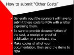 how to submit other costs