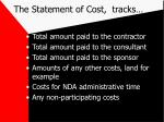 the statement of cost tracks