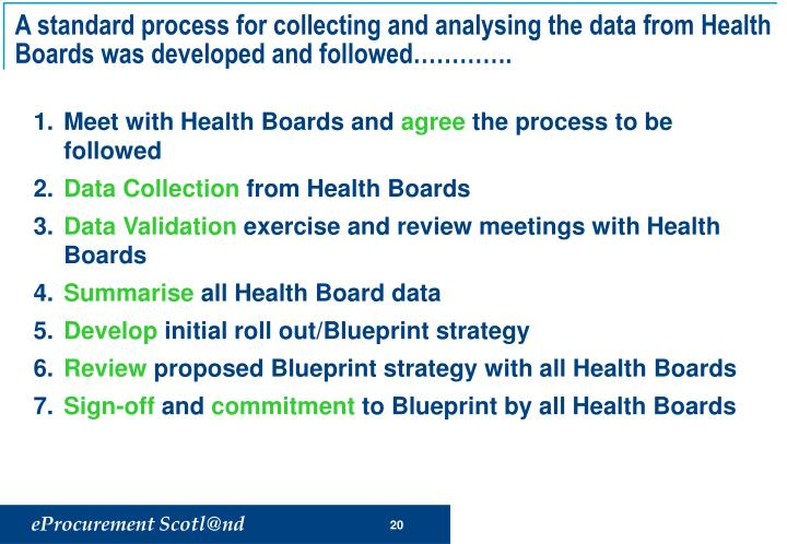 A standard process for collecting and analysing the data from Health Boards was developed and followed………….