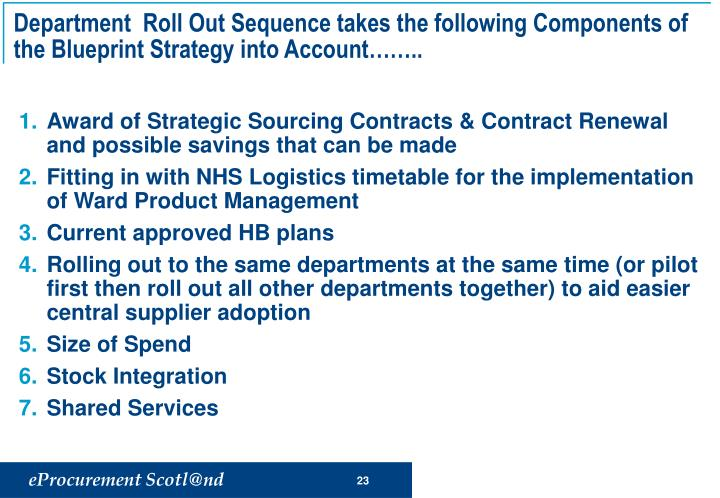 Department  Roll Out Sequence takes the following Components of the Blueprint Strategy into Account……..
