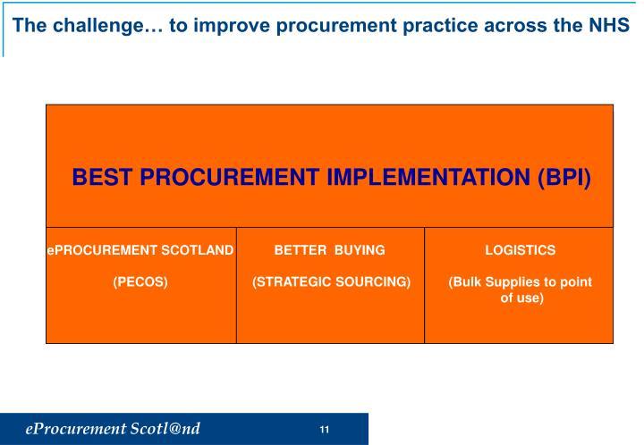 The challenge… to improve procurement practice across the NHS