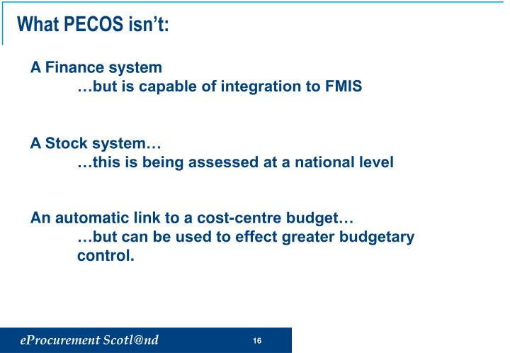 What PECOS isn't: