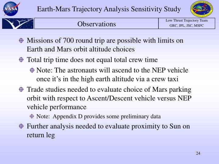 Missions of 700 round trip are possible with limits on Earth and Mars orbit altitude choices