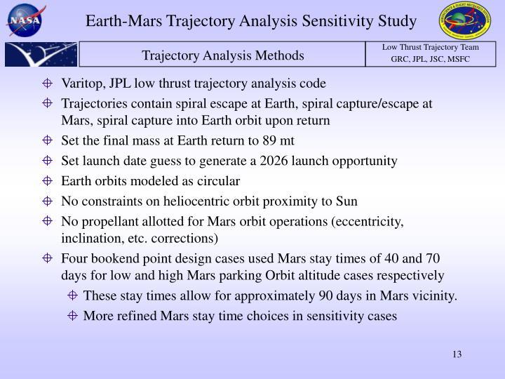 Varitop, JPL low thrust trajectory analysis code