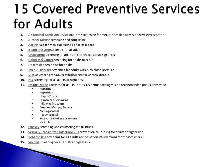 15 Covered Preventive Services for Adults