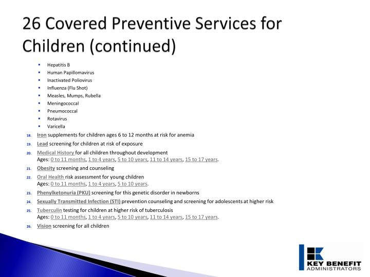 26 Covered Preventive Services for Children (continued)