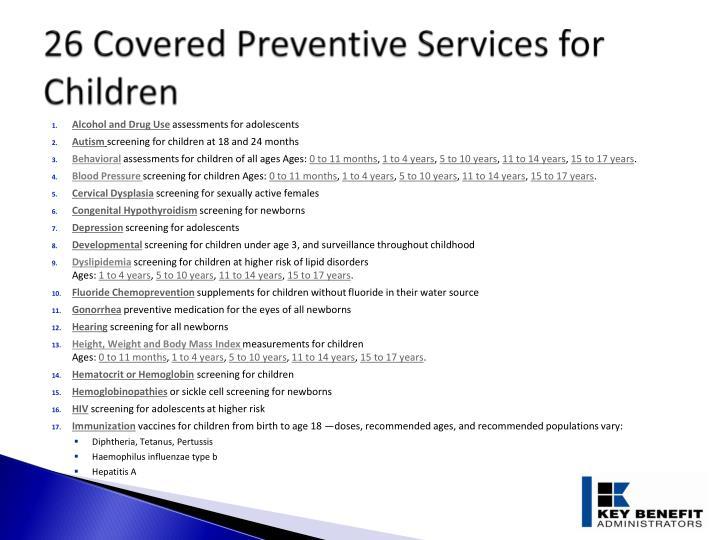 26 Covered Preventive Services for Children
