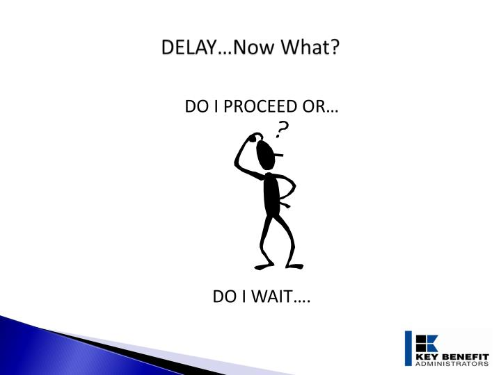 DELAY…Now What?