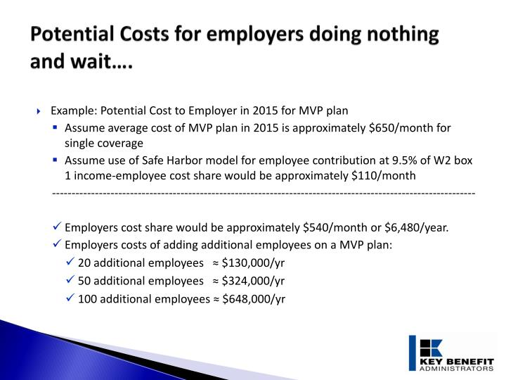 Potential Costs for employers doing nothing and wait….