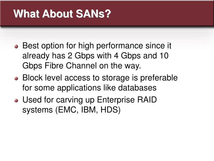 What About SANs?