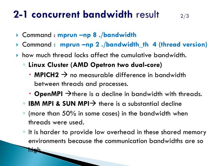 2-1 concurrent bandwidth