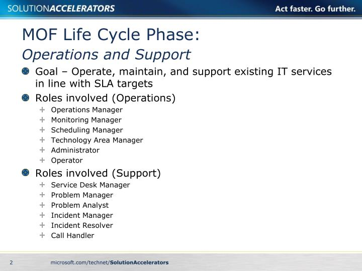 Mof life cycle phase operations and support