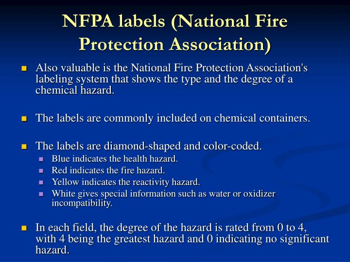 NFPA labels (National Fire Protection Association)