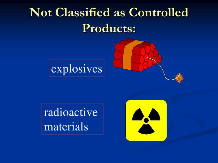 Not Classified as Controlled Products: