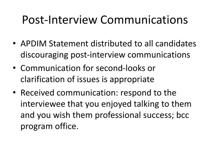 Post-Interview Communications