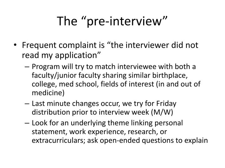 "The ""pre-interview"""