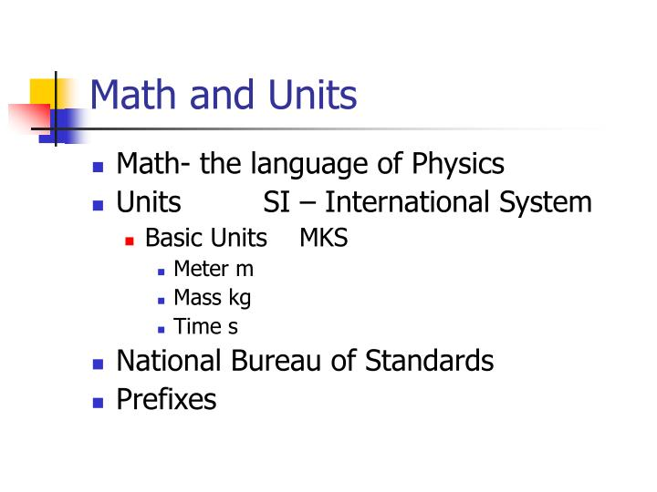 Math and Units