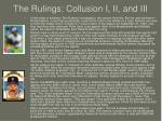 the rulings collusion i ii and iii