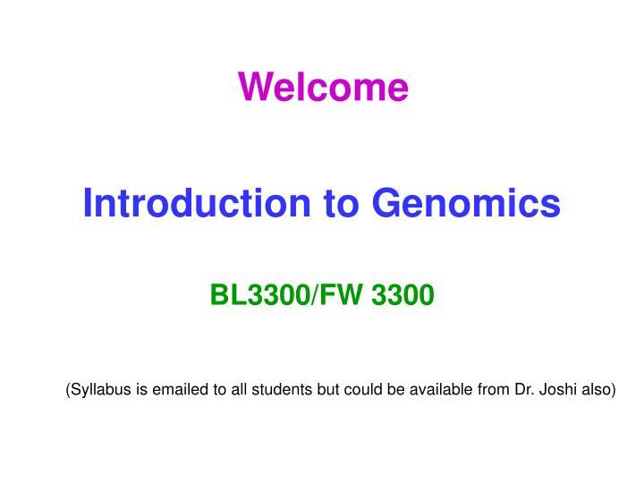 introduction to genomics n.