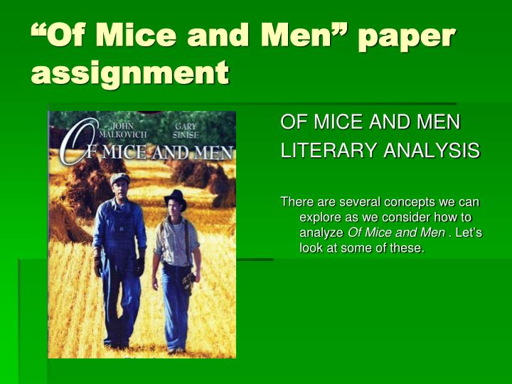 "ppt ""of mice and men"" paper assignment powerpoint presentation  ""of mice and men"" paper assignment"