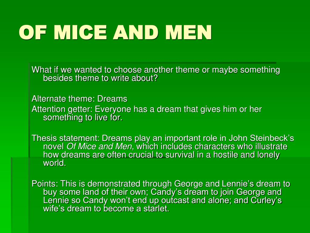 Of Mice And Men Thesis Statement