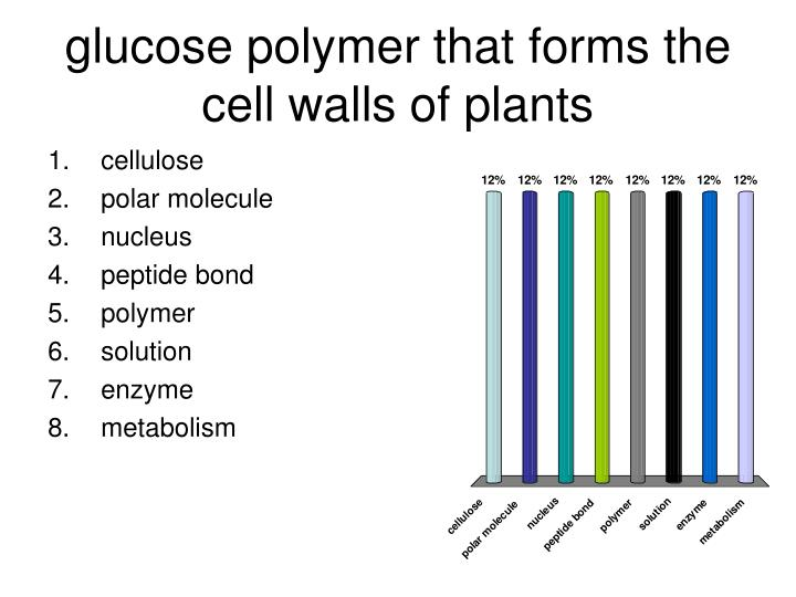 glucose polymer that forms the cell walls of plants
