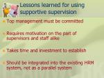 lessons learned for using supportive supervision