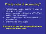 priority order of sequencing