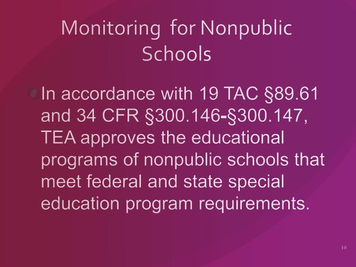 Monitoring  for Nonpublic Schools