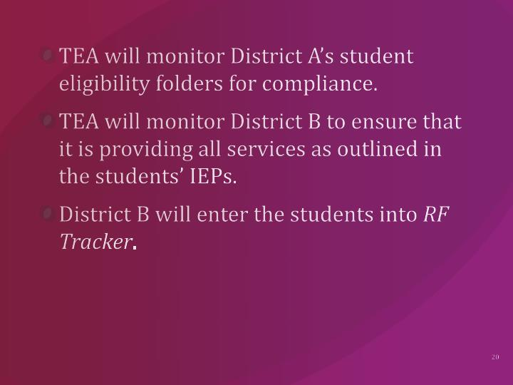 TEA will monitor District A's student eligibility folders for compliance.