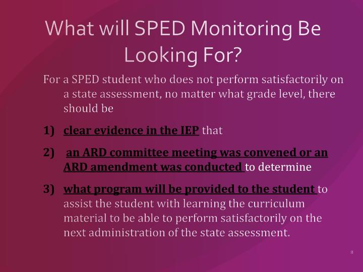 What will SPED Monitoring Be Looking For?