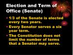 election and term of office senate