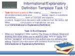 informational explanatory definition template task 12