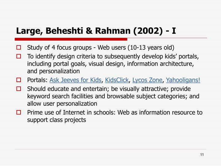 Large, Beheshti & Rahman (2002) - I