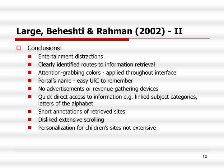 Large, Beheshti & Rahman (2002) - II